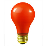 40 Watt - Red Ceramic Coated - A19 - 130 Volt - 1,000 Life Hours - Party Light Bulb - Satco S4980