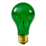 25 Watt - Transparent Green - A19 - 130 Volt - 1,000 Life Hours - Party Light Bulb - S6081