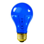 25 Watt - Transparent Blue - A19 - 120 Volt - 2,500 Life Hours - Party Light Bulb - Satco S6082