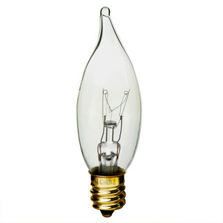 25 Watt - CA8 - Bent Tip - 120 Volt - Candelabra Base - Chandelier Decorative Light Bulb - Satco S3274 Chandelier Light