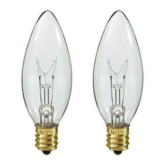 25 Watt - F10 - Straight Tip - 120 Volt - Candelabra Base - Chandelier Decorative Light Bulb - Satco S2771 Chandelier Light