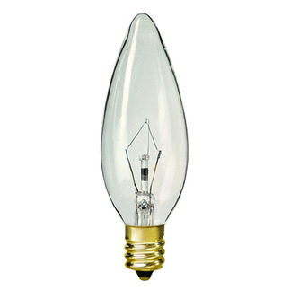 7.5 Watt - B9.5 - Petite - Straight Tip - 120 Volt - 3,000 Life Hours - Candelabra Base - Chandelier Decorative Light Bulb - Satco S4994 B9.5 Chandelier Light Bulb