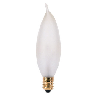 25 Watt - CA8 - Frosted - Bent Tip - 130 Volt - Candelabra Base - Chandelier Decorative Light Bulb - Satco A3678