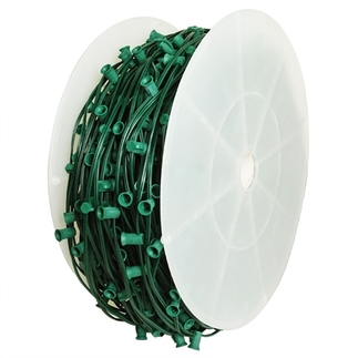 C9 Stringer - 1,000 Foot - 1,000 Sockets - 12 in. Spacing - Green Wire - Commercial Christmas Lights - HLS C9-1000-12-G C9 Stringer