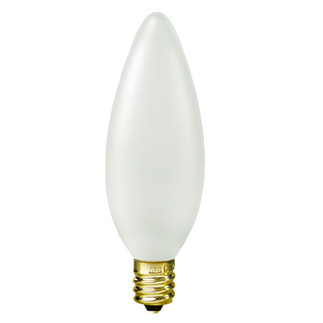 40 Watt - B9.5 - White Coated - Straight Tip - 120 Volt - Candelabra Base - Chandelier Decorative Light Bulb - Satco S3289 Chandelier Light