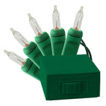 (10) Bulbs - Clear Mini Lights - Length 3 ft. - Bulb Spacing 4 in. - Green Wire - Battery Powered - Indoor Only