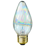 25 Watt - F15 - Clear Aurora - Wrinkled Glass - 120 Volt - Medium Base - Chandelier Decorative Light Bulb - Satco S3365