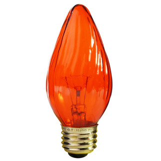 40 Watt - F15 - Transparent Amber - Wrinkled Glass - 120 Volt - Medium Base - Chandelier Decorative Light Bulb - Satco S3370 Chandelier Light