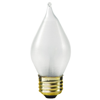 25 Watt - C15 - Satin Glow White Silk - 120 Volt - 4,000 Life Hours - Medium Base - Chandelier Decorative Light Bulb - Satco S3413 Chandelier Light