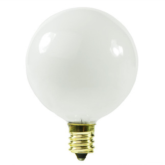 10 Watt - G12.5 - White - 1-9/16 in. Dia. - 120 Volt - 1,500 Life Hours - Decorative Globe - Candelabra Base - Satco S3830