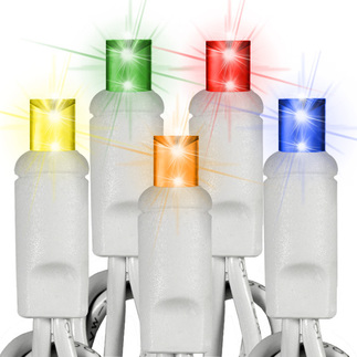 (50) Bulbs - LED - Multi-Color Wide Angle Mini Lights - Length 17 ft. - Bulb Spacing 4 in. - 120V - White Wire