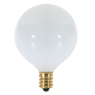 25 Watt - G16.5 - Glossy White - 2-11/16 in. Dia. - 120 Volt - 1,500 Life Hours - Decorative Globe - Candelabra Base - Satco S3260