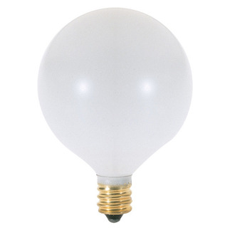 60 Watt - G16.5 - Satin White - 2-11/16 in. Dia. - 120 Volt - 1,500 Life Hours - Decorative Globe - Candelabra Base - Satco S3832