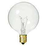 60 Watt - G16.5 - Clear - 2-11/16 in. Dia. - 130 Volt - 2,500 Life Hours - Decorative Globe - Candelabra Base - Satco A3931