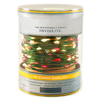 Candy Cane - 120 Volt - InvisiLite - 96 LED Bulbs - Length 32 ft. -  Bulb Spacing 4 in. - Flexible Ultra Thin Green Wire - LED Christmas Lights - Superior Holiday Lighting 1100189