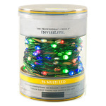 Multi-Color - 120 Volt - InvisiLite - 96 LED Bulbs - Length 32 ft. - Bulb Spacing 4 in. - Flexible Ultra Thin Green Wire - LED Christmas Lights - Superior Holiday Lighting 1100191