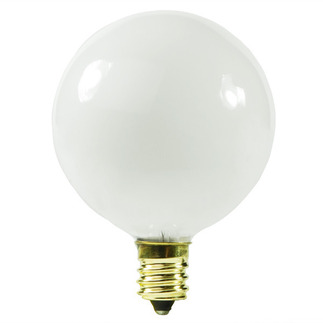 60 Watt - G16.5 - Satin White - 2-11/16 in. Dia. - 130 Volt - 2,500 Life Hours - Decorative Globe - Candelabra Base - Satco A3932