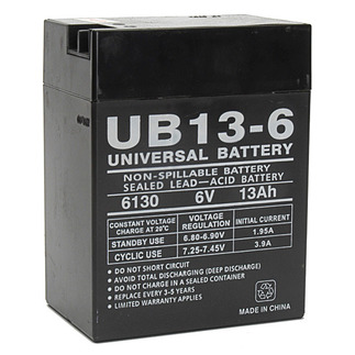 SLA UPG UB6130 TOY - AGM Battery - Sealed Lead Acid - 6 Volt - 13 Ah Capacity - F12 Terminal