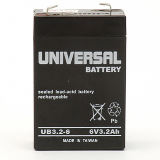SLA UPG UB632 - AGM Battery - Sealed Lead Acid - 6 Volt - 3.2 Ah Capacity - F1 Terminal