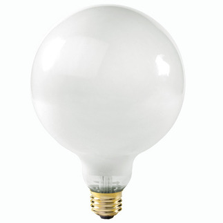 60 Watt - G40 - White - 5 in. Dia. - 120 Volt - 4,000 Life Hours - Decorative Globe - Medium Base - Satco S3002