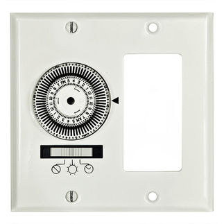 Intermatic KM2ST-2D - 24 Hr. In Wall Mechanical Timer - SPST - 2 Gang Decorator - 20 Amp - 120 Volt - White