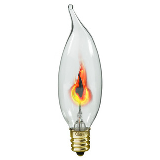 3 Watt - B9.5 - Flicker Flame - 120 Volt - Candelabra Base - Chandelier Decorative Light Bulb - Satco S3656