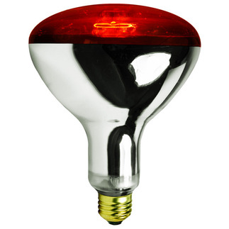250 Watt - R40 - Ruby Red - Heat Lamp - 120 Volt - 5,000 Life Hours - Medium Base - Infrared Light Bulb - Satco S4998 Infrared Heat Lamp