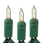 Clear - 120 Volt - 50 Bulbs - Length 17 ft. - Bulb Spacing 4 in. - Green Wire - Christmas Mini Light String - HLS 450CLRG