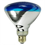 100 Watt - Blue - BR38 - Weatherproof - Flood - 230 Volt - 2,000 Life Hours - Satco S5006