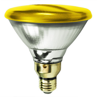 100 Watt - PAR38 - Yellow - Reflector Flood - 120 Volt - Medium Skirted Base - Incandescent Light Bulb - Satco 106586