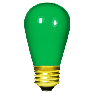 11 Watt - S14 - Opaque Green - 130 Volt - Medium Base - Sign Light Bulb - Satco S3962