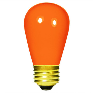 11 Watt - S14 - Opaque Orange - 130 Volt - Medium Base - Sign Light Bulb - Satco S3964 Opaque Orange S14 Sign Bulb