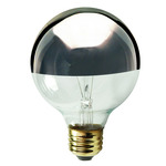 60 Watt - G25 - Clear Silver Bowl - 120 Volt - Medium Base - Incandescent Light Bulb - Satco S3862 Silver Bowl Light Bulb
