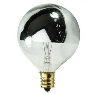 60 Watt - G16.5 - Clear Silver Bowl - 120 Volt - Candelabra Base - Incandescent Light Bulb - Satco S3246