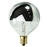 25 Watt - G16.5 - Clear Silver Bowl - 120 Volt - Candelabra Base - Incandescent Light Bulb - Satco S3244 Silver Bowl Light Bulb