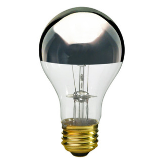 60 Watt - A19 - Clear Silver Bowl - 130 Volt - Medium Base - Incandescent Light Bulb - Satco S3955 Silver Bowl Light Bulb