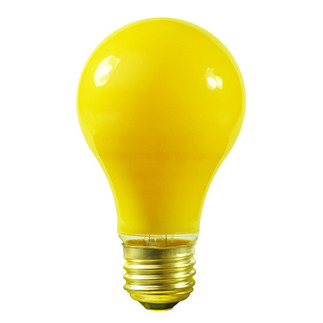 25 Watt - A19 - Yellow - 130 Volt - Medium Base - Incandescent Bug Light - Satco S6093
