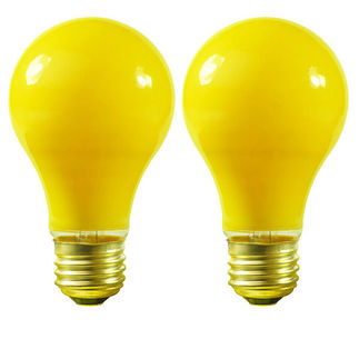 100 Watt - A19 - Yellow - 130 Volt - Medium Base - Incandescent Bug Light - Satco S3939 Bug Light