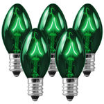 C7 - Transparent Green - Double Dipped - 7 Watt - Candelabra Base - Christmas Lights
