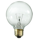 60 Watt - G25 - Clear - 3-1/8 in. Dia. - 130 Volt - 3,000 Life Hours - Decorative Globe - Medium Base - Satco A3649