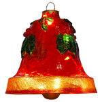 Illuminated - Hanging Holly Bell - Red - 12.75 in. - 20 Bulbs - Barcana 57-1097-01