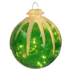 Illuminated - Hanging Icy Ball - Green - 12 in. - 10 Bulbs