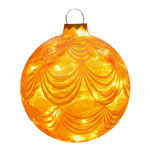 Illuminated - Hanging Sandstone Draped Ball - Gold - 12.5 in. - 20 Bulbs - Barcana 57-1100-02