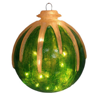 Illuminated - Hanging Icy Ball - Green - 16 in. - 20 Bulbs - Barcana 57-1077-05