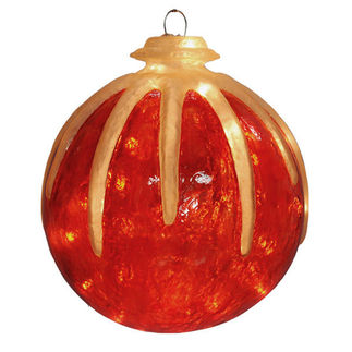 Illuminated - Hanging Icy Ball - Red - 16 in. - 20 Bulbs - Barcana 57-1077-01