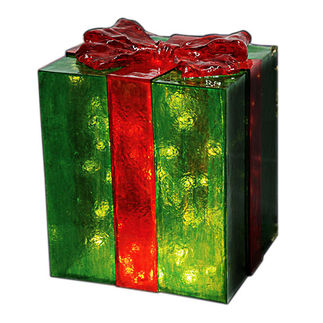 Illuminated - Christmas Gift Box Decoration - Green with Red Bow - 18 in. - 35 Bulbs - Barcana 57-1067-05