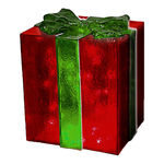 Illuminated - Christmas Gift Box Decoration - Red with Green Bow - 18 in. - 35 Bulbs