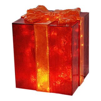 Illuminated - Christmas Gift Box Decoration - Red with Gold Bow - 26 in. - 50 Bulbs