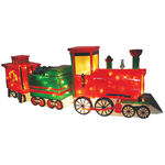 Illuminated - 3-Car Christmas Train Decoration - Red and Green - 55 Bulbs - Barcana 57-1042