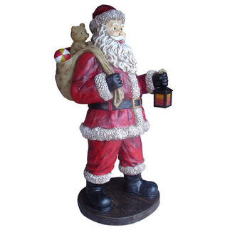 Life-Size Santa with Toy Bag - Fiberglass - 6 ft. - Barcana 55-5002